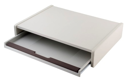 Fh 1 Desktop Keyboard Drawer 22 W X 16 2 D 4 H Wood Riser With Plastic Pull Out S Below Your Monitor Finish Light Gray